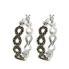 "Marcasite Sterling Silver Infinity-Design 1/2"" Hoop Earrings"