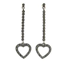 Marcasite Sterling Silver Open Heart Dangle Earrings