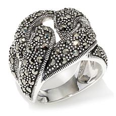 Marcasite Triple Knot Wide Band Sterling Silver Ring