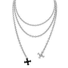 Margo Manhattan Black Rhodium Gemstone Cross Lariat Necklace
