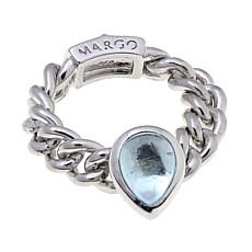 Margo Manhattan Blue Topaz/White Topaz Chain Link Ring
