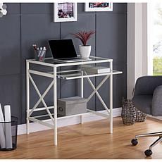 Marion Metal/Glass Small-Space Desk - White