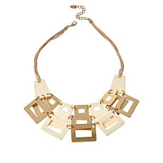 "MarlaWynne 23-1/4"" Suede Cord Multi-Square Bib Necklace"