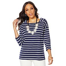 MarlaWynne 3/4 Sleeve Striped Tee