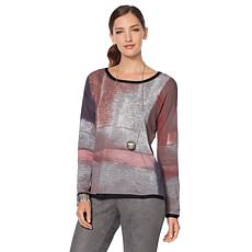 MarlaWynne Abstract Print Modified Box Top Sweater