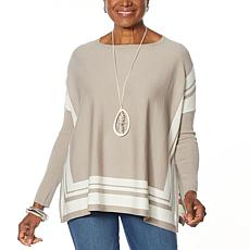 MarlaWynne Border Poncho Sweater