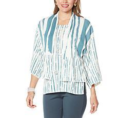 MarlaWynne Brushstroke Print Sweater Knit Cardigan