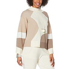MarlaWynne Colorblocked Boucle Knit Pullover Sweater