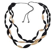 MarlaWynne Elongated Bead Adjustable 3-Row Necklace