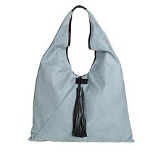 MarlaWynne Faux Suede Large Triangle Tote with Tassel