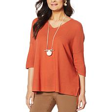 MarlaWynne Link Stitch V-Neck Pullover Sweater