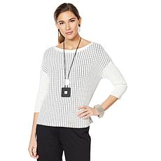 MarlaWynne Modified Box Top Contrast Stitch Sweater