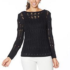 MarlaWynne Open Weave Ladder Stitch Popover Sweater