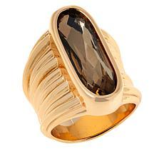 MarlaWynne Oval Crystal Ribbed Shank Ring