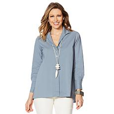 MarlaWynne Poplin Shirt with Button Detail