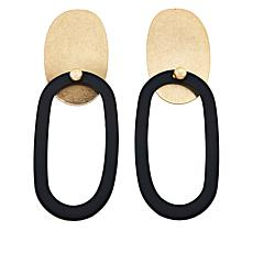 MarlaWynne Rubber and Metal Oval Drop Earrings