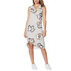 MarlaWynne Shadow Floral Print Side Knot Dress