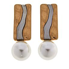 MarlaWynne Simulated Pearl Bar Drop Earrings