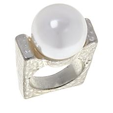 MarlaWynne Simulated Pearl Hammered Squared Ring