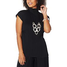MarlaWynne Sleeveless Mock Neck Pleated Top