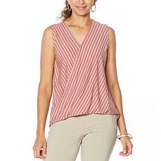 MarlaWynne Striped Knit Sleeveless Twist Top