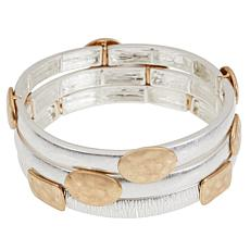 MarlaWynne Two-Tone 3-piece Stretch Bracelet Set