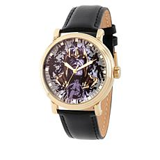 "Marvel Avengers Endgame Men's ""Thanos"" Black Leather Strap Watch"