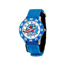 Marvel Captain America Kid's Time-Teacher Watch with Blue Strap