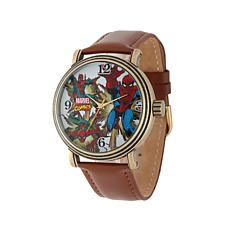 Marvel Comics Spider-Man Goldtone Brown Leather Strap Watch