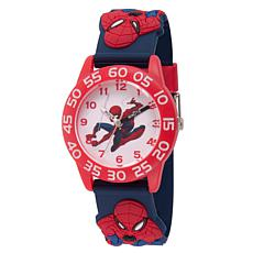 Marvel Spider Man Kids  Time Teacher Watch w/ Red and Black 3-D Strap