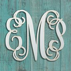 MBM Personalized Antique White Wood Monogram Plaque