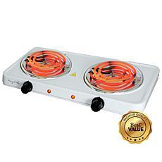 MegaChef Portable Dual Electric Coil Cooktop