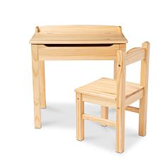 Melissa & Doug Wooden Lift-Top Desk & Chair - Honey