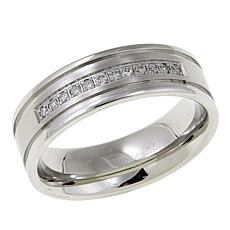 Men's 0.15ct Diamond 7mm Grooved Stainless Steel Wedding Band
