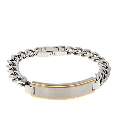 Men's 2-tone Stainless Steel Curb-Link ID Bar Bracelet