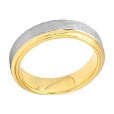 Men's 6mm Two-Tone Cobalt Brushed Center Step Edge Band Ring