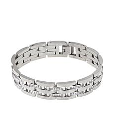 Men's .74ctw Diamond Stainless Steel Link Bracelet