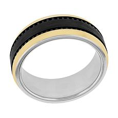 Men's 8mm Two-Tone Cobalt Gear Band Ring
