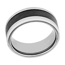 Men's 9mm Two-Tone Tungsten with Ceramic Inlay Beveled Edge Band Ring