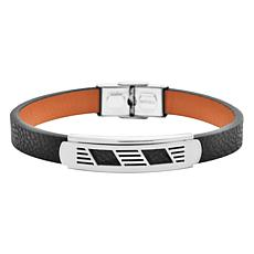 Men's Black Leather Bracelet with Stainless Steel Cut-Out Design