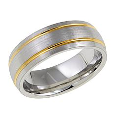 Men's Brushed Cobalt 8mm 2-Tone Grooved Band Ring
