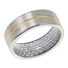 Men's Brushed Tantalum and Carbon Fiber Single Groove 8mm Wedding Band