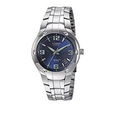 Men's Edifice Stainless Steel Blue Dial 10-Year Battery Bracelet Watch