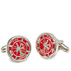 Men's Fireman's Shield Silvertone Cuff Links