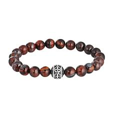 Men's Gemstone Bead Stretch Bracelet with Stainless Steel Bead Accent