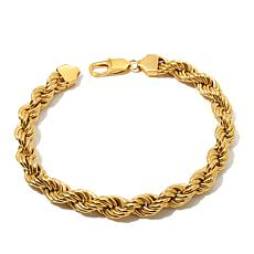 "Men's Goldtone Stainless Steel 9"" Rope Bracelet"