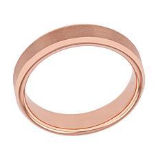 Men's Rose-tone Tungsten Satin Center Beveled Edge Band Ring