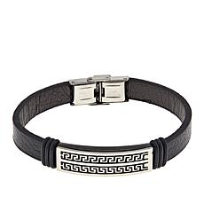 Men's Stainless Steel Greek Key Leather ID Bracelet