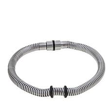 "Men's Stainless Steel Spring Coil 9"" Bracelet"