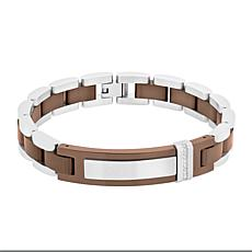 Men's Two-Tone Stainless Steel Diamond Accent ID Bracelet
